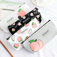Canvas Fruit Peach Pencil Case Girl Lovely Pencil Bag Practical School Supplies