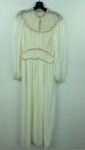 Vtg Daphne 34 Large Satin Robe Romantic Off White Lace Long Maxi Gown 1930 B2-15