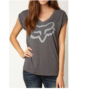 Fox Racing Womens Extent V Neck Rolled Sleeve Black Large