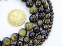 Natural Golden Obsidian Gemstone Faceted Round Beads 15.5'' 6mm 8mm 10mm 12mm