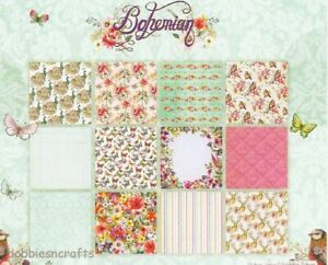 DOVECRAFT BOHEMIAN CRAFT PAPERS 8 x 8 SAMPLE PACK - 12 SHEETS