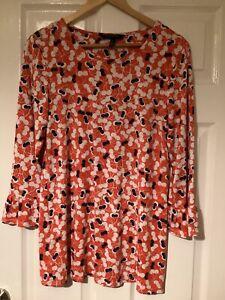 Long Tall Sally orange cherry patterned 3 quarter sleeve top size small uk 10-12