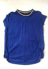 WOMEN'S Navy Blue Manica Corta T-Shirt-Bershka taglia S (UK 8)