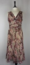 - COUNTRY CASUALS Size 14 Dress 100% Silk Georgette Pink Brown Lilac Cream