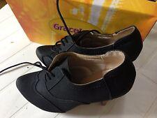 Graceland Black Lace-Up Heeled Shoe UK8/42