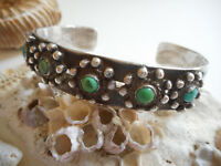 Vintage Southwest Stamped Sterling Silver Shades of Turquoise Cuff Bracelet 51T5