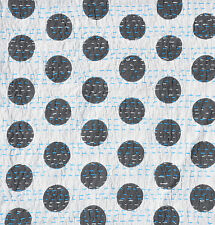 "Indian Polka Dot Design Cotton Kantha Stitch C/Cover-Grey/Blue Stitch -16""/41 cm"