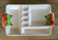 Vintage Ivory Deviled Egg & Vegetable Ceramic Serving Platter Made in Japan