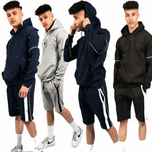 JYO Mens Contrast Zip Piped Hoodie And Short Set tracksuit (TS2444 )