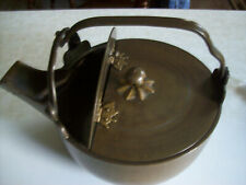 Antique Heavy Brass Teakettle Holds 88 Oz. Hinged Decorative Lid Over 5 Lb. Vg