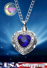 New Crystal Heart Urn Cremation Pendant Ash Holder Memorial Necklace