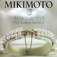 MIKIMOTO DOUBLE STRAND PEARL 14K YELLOW GOLD BRACELET W/ ORIGINAL BOX AUTHENTIC