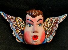 Mexican Vintage Style Cherub Angel Wooden Mask