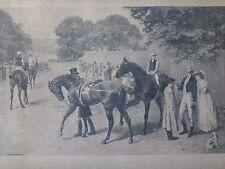 Grande gravure chevaux course Samuel Edmond Waller Old engraving horse 66x49cm