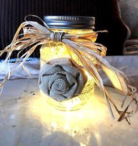 Rustic Wedding Mason Jar Lighted, Lot of 2