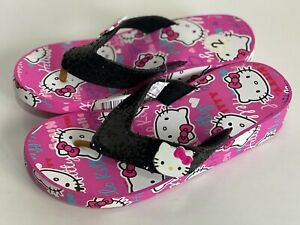 NEW! HELLO KITTY GIRLS PINK WEDGE FLIP-FLOPS SLIPPERS SIZE 2 / 3 SALE
