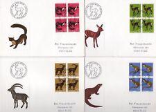 SUISSE lot de 4 enveloppes 1er jour thématique ANIMAUX europe N° 799/802 Blocs 4