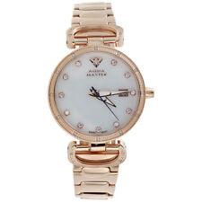Ladies Aqua Master Diamond Watch White MOP 34mm Rose Stainless Steel 0.12 Ct.