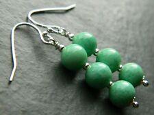 Art Deco Jade Green Peking Glass Beads & 925 Sterling Silver Vintage Earrings