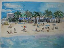 "ARUBA BEACH CAFE V, LAUD BT SEA, FL / ORIG. W/C / 10"" x 14""/ MIMI DAVIS, ARTIST"