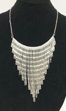 Fringe Chain Link Bib Necklace New Csd Silver Tone Multi Textured