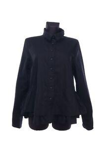 Women's RUNDHOLZ Black Label Black Cotton Flare Botton Shirt Size M