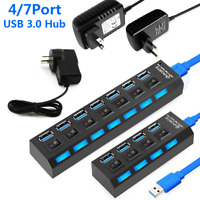 4/7 Port USB 3.0 High Speed HUB Splitter Box With ON/OFF Switch AC Power Adapter