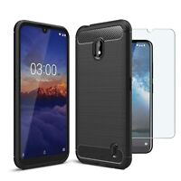 For Nokia 2.2 Case Carbon Fibre Cover & Glass Screen Protector