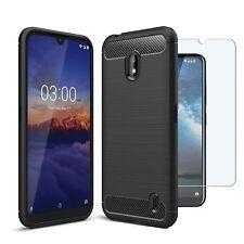 For Nokia 2.2 Case Carbon Fibre Cover & Glass Screen Protector