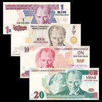 Turkey Set 4 PCS, 1 5 10 20 Lira, 2005, P-216 217 218 219, UNC