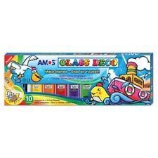 NEW AMOS Glass Deco Window Decoration Art Paints 22ml x 10 Colours - Craft Kits