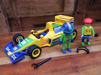 Playmobil 3038 Formula 1 Yellow Race Car w/ Figures and Accessories