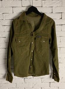 Khaki V Neck Denim Shirt - Size M - Unique - ALEX CHRISTOPHER RRP £95.00
