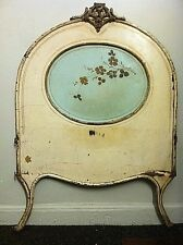 """Antique Headboard Iron French """"Shabby Chic"""" With Flowers Painted Teal And Cream."""