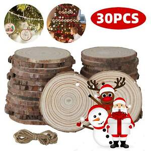 DIY Unfinished Log Circle Round Wood Slices Natural Tree Ornaments Craft Decor