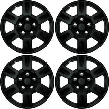 "4 Pc Set of 16"" Matte Black Hub Caps Full Lug Skin Rim Cover for OEM Steel Wheel"