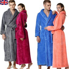 Women's & Men's Fleece Bath Robe Dressing Gown Soft Long Cover Fleece Home Coats