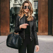 Women Ladies Solid Leather Jacket Motor Coat Zip Up Biker Casual Punk Top Coats