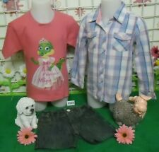 vêtements occasion fille 4 ans,chemise,tee-shirt,short jean OOXOO