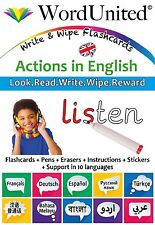 Early Years / Primary, Actions / Verbs in English - Write & Wipe Flashcards