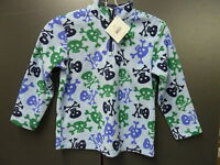 Hanna Andersson 1/4 Zip Blue Green Fleece Pirate Skulls Boys Pullover Jacket