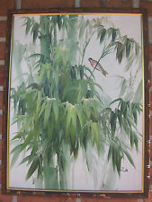 "Oriental Chinese? oil on board painting: Bamboo & Bird 26""x19"""