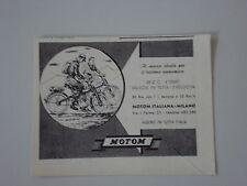 advertising Pubblicità 1949 MOTO MOTOM 48 cc