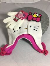 NEW Hello Kitty Kids Cold Weather Set Beanie & Mittens Pink Fleece Lined Sanrio