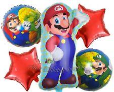 (5) Pc Super Mario Bros Balloons Party Birthday Supplies