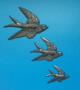 set of 3 x Retro Kitsch Vintage Brass Wall Hanging Flying Swallows / Birds