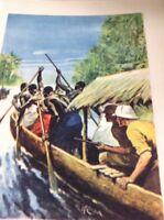 Ephemera 1936 Book Plate 8x5.5 Inch White Men Explore A West African River da3