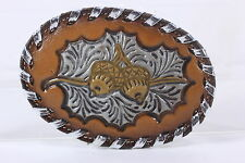 Vintage Tony Lama Tooled Leather Belt Buckle Acorns Oak Leaf Made in USA