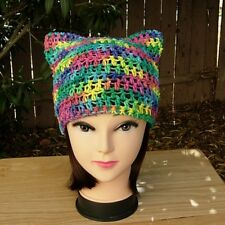 Colorful Rainbow Summer Pussy Cat Hat Cotton Crochet Knit Resist March Beanie