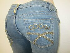 NWT Coogi Women Size 9/10 Embroidered Blue Crop Capri Jeans Denim Low Rise
